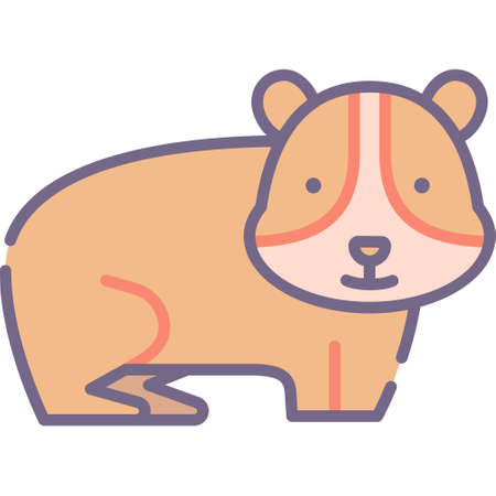 Vector flat icon illustration of a guinea pig. Animals and fauna concept.