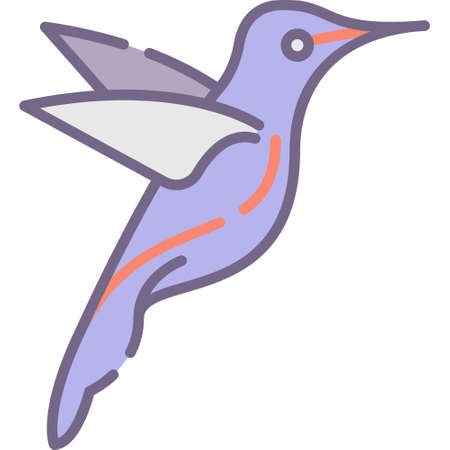 Vector flat icon illustration of a hummingbird. Animals and fauna concept.
