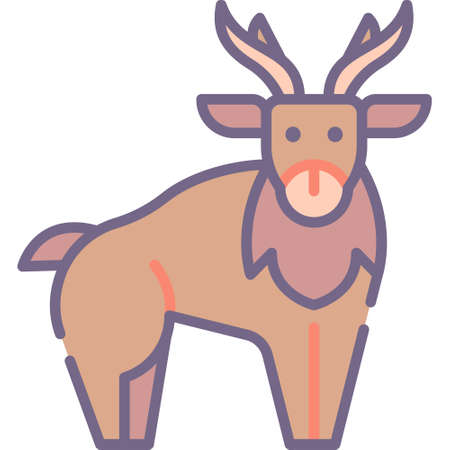 Flat vector icon illustration of a reindeer. Animals and fauna concept.