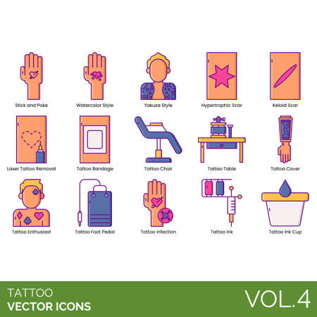 Tattoo icons including stick and poke, watercolor style, yakuza, hypertrophic scar, keloid, laser removal, bandage, chair, table, cover, enthusiast, foot pedal, infection, ink cup.