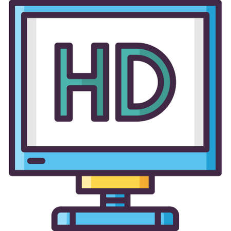 Vector flat icon illustration of HD film. Video production concept.