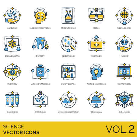 Science icons including agriculture, applied mathematics, military, optics, sports, bioengineering, dentistry, epidemiology, healthcare, nursing, pharmacy, veterinary medicine, library, artificial intelligence, bioinformatics, gene banks, greenhouse, meteorological station, observatory, cybernetics.