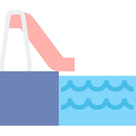 Flat vector icon illustration of water slide