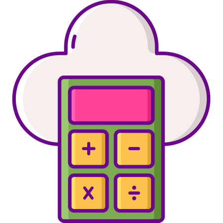 Vector flat icon illustration of calculator and cloud. Calculate data concept.