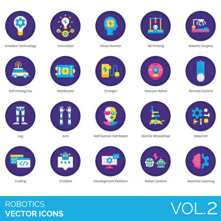 Robotics icons including creative technology, innovation, smart, 3d printing, surgery, self driving car, mainboard, charger, vacuum, remote control, leg, arm, half human, electric wheelchair, kit, coding, chatbot, development platform, contest, machine learning. 向量圖像