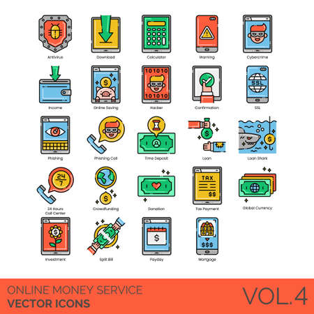 Online money service icons including antivirus, download, calculator, warning, cybercrime, income, saving, hacker, confirmation, SSL, phishing, time deposit, loan shark, 24 hours call center, crowdfunding, donation, tax payment, global currency, investment, split bill, payday, mortgage. 向量圖像