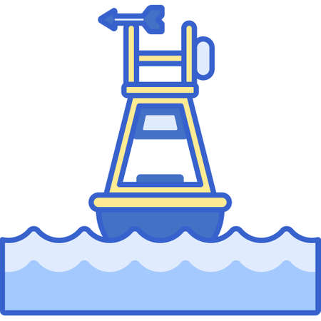 Vector flat icon illustration of floating ocean buoy