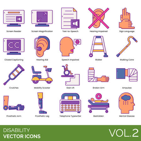 Disability icons including screen reader, magnification, text to speech, hearing impaired, sign language, closed captioning, aid, walker, walking cane, crutches, mobility scooter, stair lift, broken arm, amputee, prosthetic leg, telephone typewriter, bedridden, mental disease. Banque d'images - 143532459