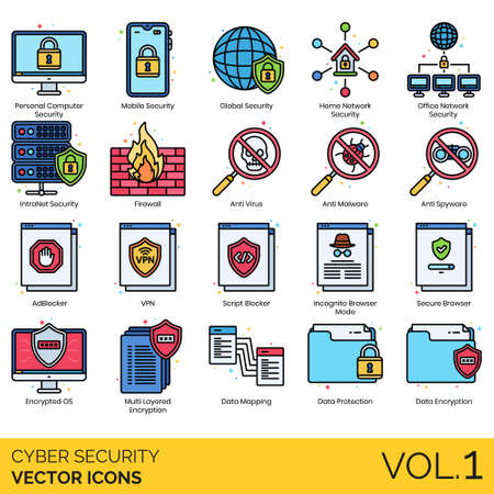 Cyber security icons including personal computer, mobile, global, home network, office, intranet, firewall, antivirus, anti malware, spyware, ad blocker, VPN, script, incognito mode, secure browser, e  イラスト・ベクター素材
