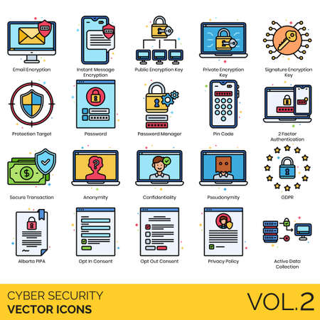 Cyber security icons including email encryption, instant message, public key, private, signature, protection target, password manager, pin code, 2 factor authentication, secure transaction, anonymity, confidentiality, pseudonymity, GDPR, alberta PIPA, opt-in, opt-out consent, privacy policy, active data collection.