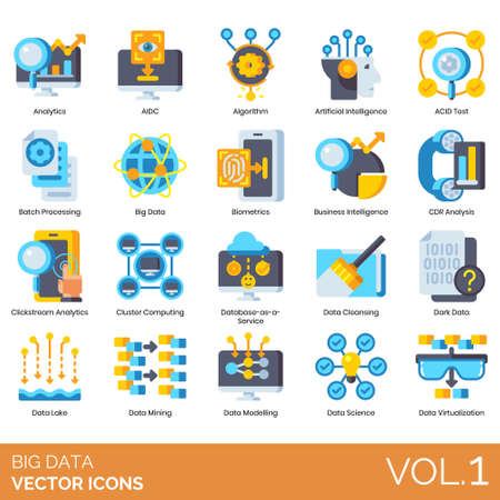 Big data icons including analytics, AIDC, algorithm, artificial intelligence, ACID test, batch processing, biometrics, business, CDR analysis, clickstream, cluster computing, database as a service, cleansing, dark, lake, mining, modeling, science, virtualization.