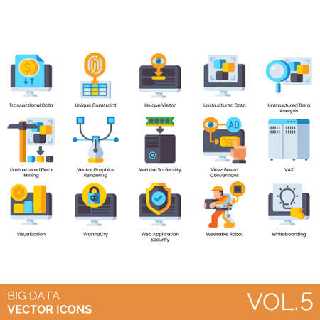 Big data icons including transactional, unique constraint, visitor, unstructured analysis, mining, vector graphics rendering, vertical scalability, view based conversion, VAX, visualization, wannacry, web application security, wearable robot, whiteboarding.
