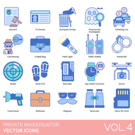Private investigator icons including warrant, PI license, dumpster diving, paranormal, following car, canvassing, coded bag, flashlight, talkie walkie, handcuffs, radar, shoe print, recorder, spy watch camera, drone, transmissor, briefcase, disguise, binocular, micro SD card.