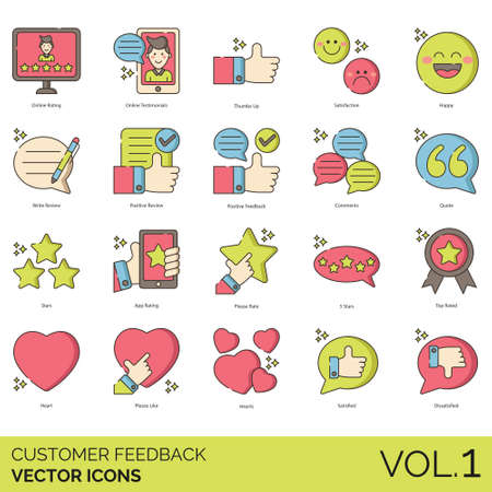 Customer feedback icons including online rating, testimonial, thumb up, satisfaction, happy, write review, positive, comment, quote, app, please rate, 5 stars, top rated, heart, like, satisfied, dissatisfied. 向量圖像