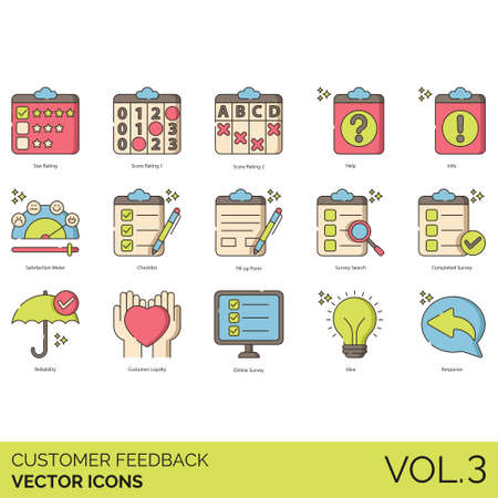 Customer feedback icons including star rating, score, help, info, satisfaction meter, checklist, fill up form, search, completed survey, reliability, loyalty, online, idea, response.