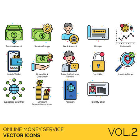Online money service icons including receive amount, bank account, cheque, rate alert, mobile wallet, guarantee, friendly customer, fraud, location finder, supported countries, minimum transaction, passport, identity card.