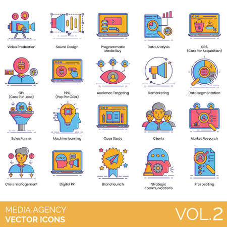 Media agency icons including video production, sound design, programmatic buy, data analysis, CPA, CPL, PPC, audience targeting, remarketing, segmentation, sales funnel, machine learning, case study, clients, market research, crisis management, digital PR, brand launch, strategic communication, prospecting.