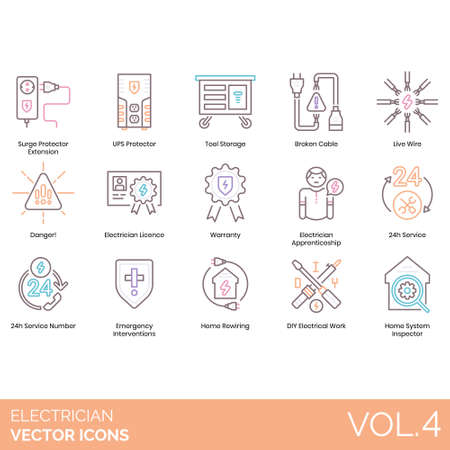 Electrician icons including surge protector extension, UPS, tool storage, broken cable, live wire, danger, license, warranty, apprenticeship, 24h service number, emergency intervention, home rewiring, DIY electrical work, system inspector.