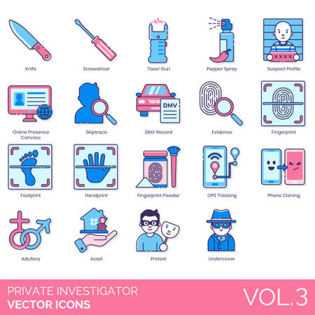 Private investigator icons including knife, screwdriver, taser gun, pepper spray, suspect profile, online presence canvass, skiptrace, DMV record, evidence, footprint, handprint, fingerprint powder, GPS tracking, phone cloning, adultery, asset, pretext, undercover.