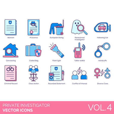 Private investigator icons including warrant, PI license, dumpster diving, paranormal, following car, canvassing, coded bag, flashlight, talkie walkie, handcuffs, criminal record, class action, recorded statement, conflict of interest, divorce case. Ilustração