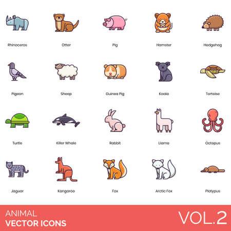 Animal icons including rhinoceros, otter, hamster, hedgehog, pigeon, sheep, guinea pig, koala, tortoise, turtle, killer whale, rabbit, llama, octopus, jaguar, kangaroo, arctic fox, platypus.