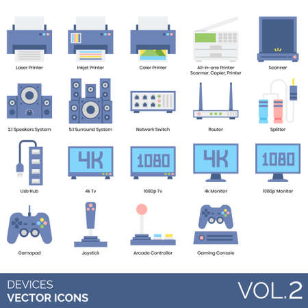Devices icons including laser printer, inkjet, color, all in one, scanner, 2.1 speakers, 5.1 surround system, network switch, router, splitter, USB hub, 4k TV, 1080p, monitor, gamepad, joystick, arcade controller, gaming console.