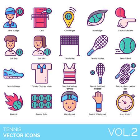 Tennis icons including line judge, call, challenge, hawk-eye, code violation, boy, girl, net, racket, ball, shoes, clothes male, female, two, fireball, headband, sweat wristband, stopwatch.