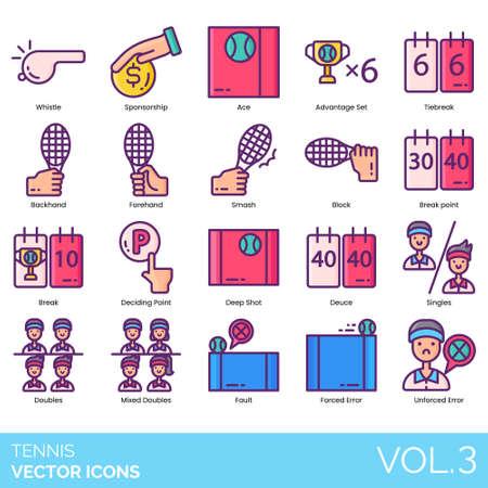 Tennis icons including whistle, sponsorship, ace, advantage set, tiebreak, backhand, forehand, smash, block, break, deciding point, deep shot, deuce, singles, mixed doubles, fault, forced, unforced error.