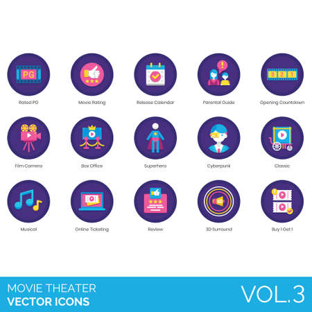 Movie theater icons including rated PG, rating, release calendar, parental guide, opening countdown, film camera, box office, superhero, cyberpunk, classic, musical, online ticketing, review, 3d surround, buy 1 get 1.