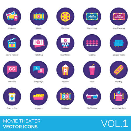 Movie theater icons including cinema, film reel, upcoming, now showing, trailer, ticketing, showtime, seating, couple seats, subtitle, language, popcorn, soda, hot dog, corn in cup, nuggets, 3D glasses, premiere.
