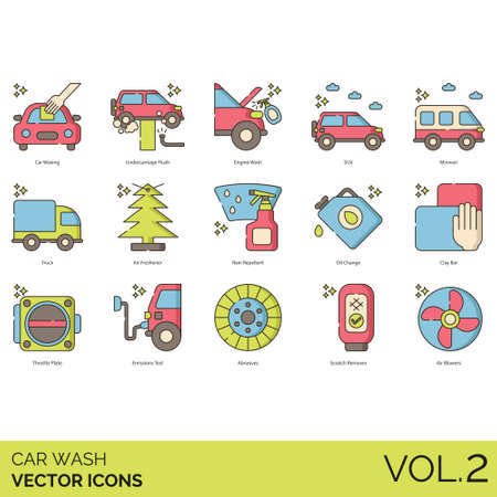 Car wash icons including waxing, undercarriage flush, engine, SUV, minivan, truck, air freshener, rain repellent, oil change, clay bay, throttle plate, emission test, abrasive, scratch remover, blower.