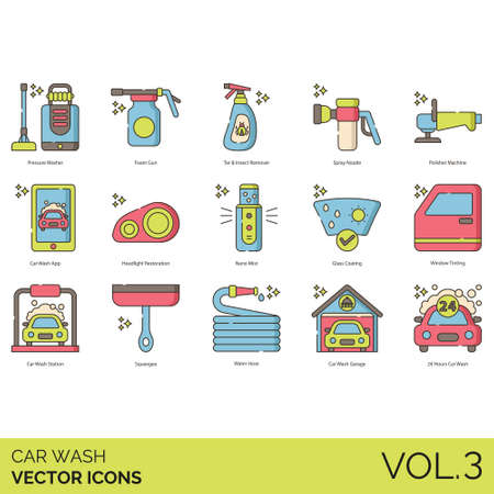 Car wash icons including pressure washer, foam gun, tar, insect remover, spray nozzle, polisher machine, app, headlight restoration, nano mist, glass coating, window tinting, station, squeegee, water hose, garage, 24 hours.