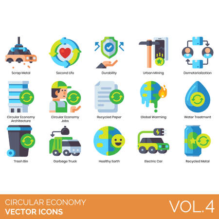 Circular economy icons including scrap metal, second life, durability, urban mining, dematerialization, architecture, job, recycled paper, global warming, water treatment, trash bin, garbage truck, healthy earth, electric car. Stock Illustratie