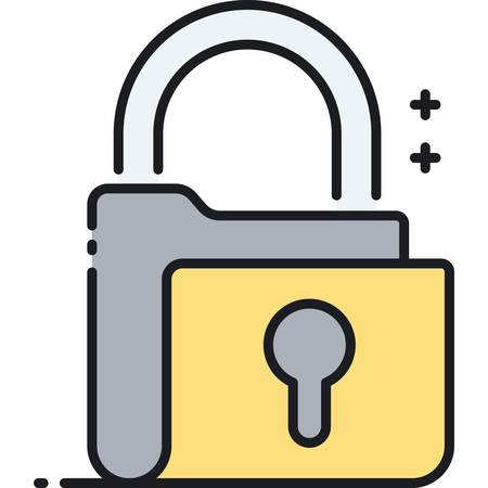 Flat vector icon illustration of padlock shaped folder. Confidential project concept.