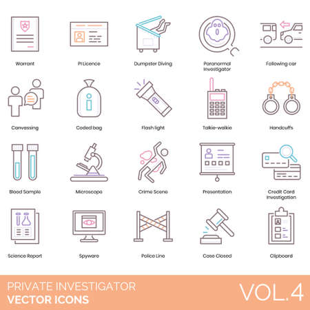 Private investigator icons including warrant, PI license, dumpster diving, paranormal, following car, canvassing, coded bag, flashlight, talkie walkie, handcuffs, blood sample, microscope, crime scene, presentation, credit card investigation, science report, spyware, police line, case closed, clipboard.