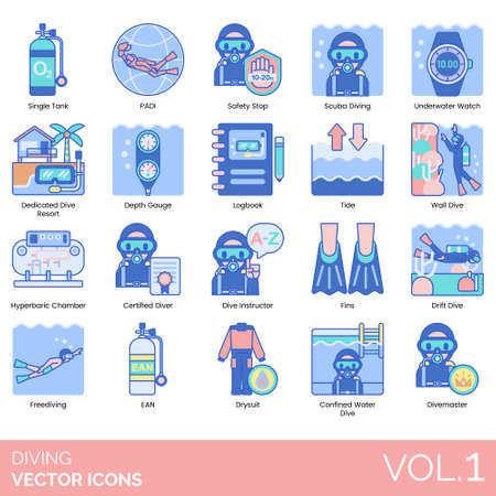 Diving icons including single tank, PADI, safety shop, scuba, underwater watch, dedicated resort, depth gauge, logbook, tide, wall, hyperbaric chamber, certified diver, instructor, fins, drift, freediving, EAN, drysuit, confined water, divemaster.