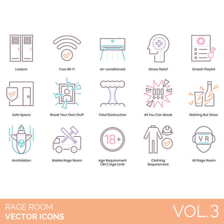 Rage room icons including lockers, free wifi, air conditioner, stress relief, smash playlist, safe space, your own stuff, total destruction, all you can break, nothing but glass, annihilation, mobile, age requirement, limit, clothing, VR.
