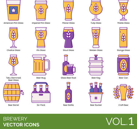 Brewery icons including american pint glass, imperial, pilsner, tulip, thistle, chalice, IPA, stout, weizen, stange, teku stemmed beer, mug, boot, keg, can, barrel, six pack, bottle, bucket, craft. Vettoriali