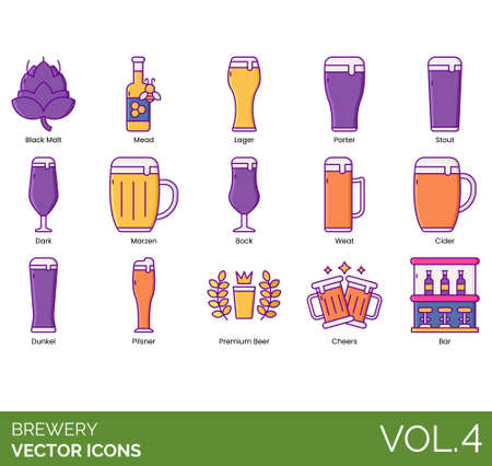 Brewery icons including black malt, mead, lager, porter, stout, dark, marzen, bock, weat, cider, dunkel, premium beer, cheers, bar.