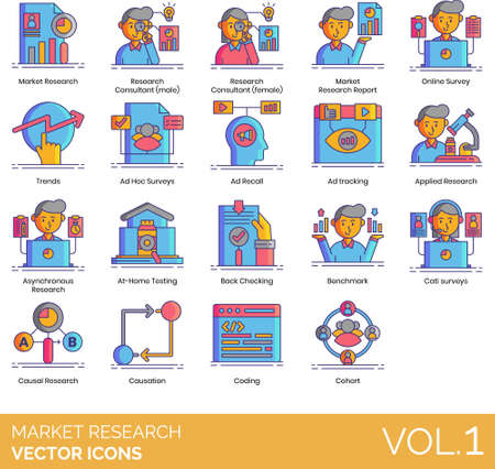 Market research icons including consultant, report, online survey, trends, ad hoc, recall, tracking, applied, asynchronous, at-home testing, backchecking, benchmark, CATI, causal, causation, coding, cohort.