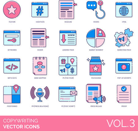 Copywriting icons including feature, hashtag, headline, hook, HTML, keyword, kicker, landing page, market segment, marketing piece, metadata, mind mapping, the four Ps, packaging, popup advert, positioning, press relations, post script, release, proof. Vectores