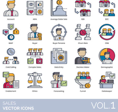 Sales icons including account, AIDA, average dollar, b2b, b2c, BANT, buyer persona, churn rate, CRM, cold calling, complex, data entry, decision maker, demographic, enablement, ethics, forecasting, funnel, gatekeeper.