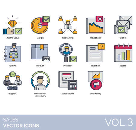 Sales icons including lifetime value, margin, networking, objection, opt-in, pipeline, product, prospect, question, quota, rapport, retention of customer, report, smarketing.