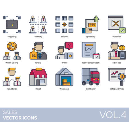 Sales icons including targeting, territory, unique, upselling, variable, warm calling, whale, WIIFM, yearly report, job, head, retail, wholesale, distributor, analytics.