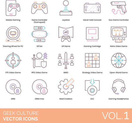 Geek culture icons including mobile gaming, gamepad, joystick, handheld console, gun controller, steering wheel for PC, VR set, cartridge, retro videogame, FPS, RPG, MMO, strategy, open world, DRM free, mod creation, DLC, headphone.