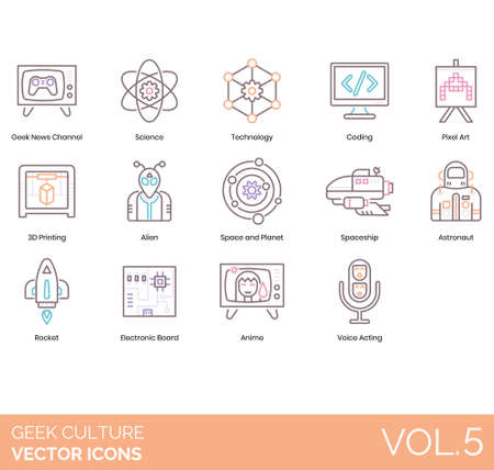 Geek culture icons including news channel, science, technology, coding, pixel art, 3D printing, alien, planet, spaceship, astronaut, rocket, electronic board, anime, voice acting. Ilustração