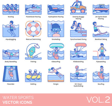 Water sports icons including rowing, powerboat racing, hydroplane, swamp buggy, jet sprint boat, aquajogging, rescue swimming, snorkeling, synchronized diving, barefoot skiing, bodyboarding, fishing, kitesurfing, kiteboarding, flyboarding, flowrider, rafting, picigin, sit-down hydrofoiling, skurfing.