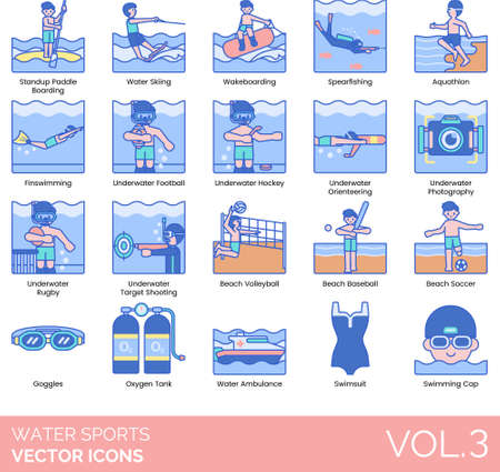 Water sports icons including standup paddleboarding, waterskiing, wakeboarding, spearfishing, aquathlon, finswimming, underwater football, hockey, orienteering, photography, rugby, target shooting, beach volleyball, baseball, soccer, goggles, oxygen tank, ambulance, swimsuit, swimming cap. Illustration