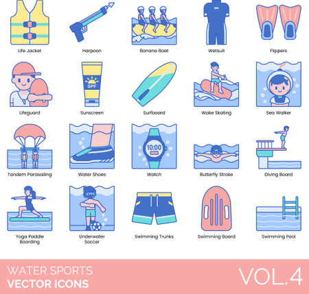 Water sports icons including life jacket, harpoon, banana boat, wetsuit, flippers, lifeguard, sunscreen, surfboard, wakeskating, sea walker, tandem parasailing, shoes, watch, butterfly stroke, diving, yoga paddle boarding, underwater soccer, swimming trunks, pool.