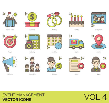 Event management icons including executive retreat, fundraiser, wedding, birthday, family, target, budgeting, scheduling, logistic, location, marketing, coordinating, customer, review, expert.